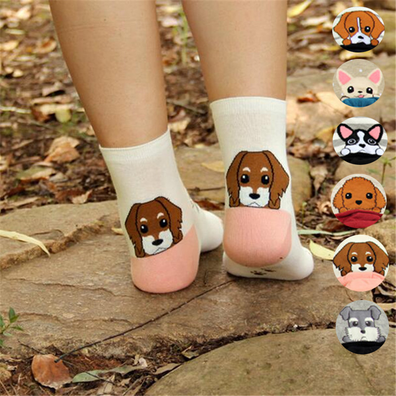 Recommend !!women Cartoon Socks Autumn-winter Fashion Animal Socks Ladies And Women's Funny Cotton Patterned Dog Sock Girl
