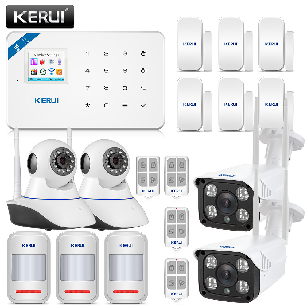 где купить Original KERUI WI8 PIR Detector Smart WIFI GSM Burglar Security Alarm System With 720P IP Camera + 1080P Waterproof Camera дешево