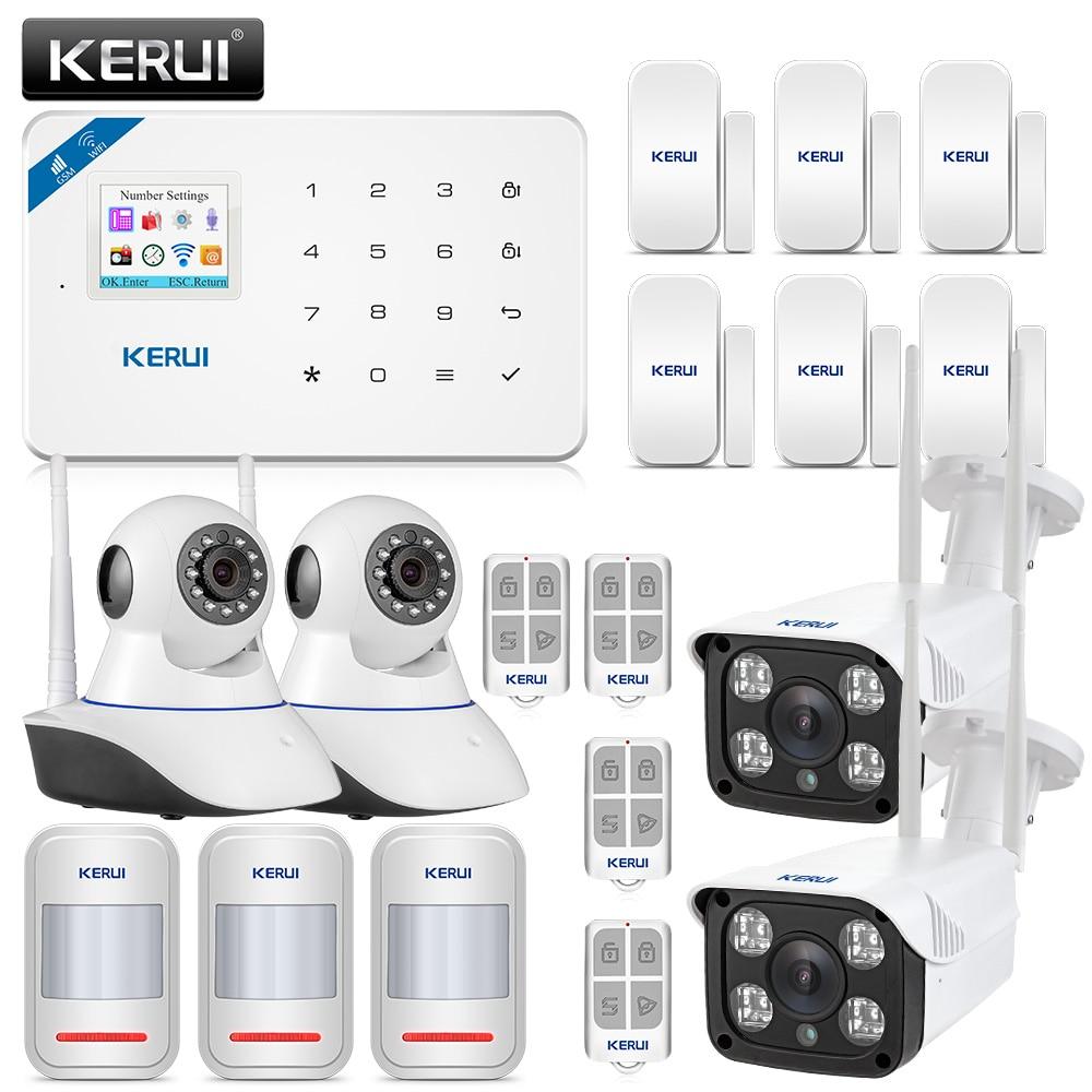 Original KERUI WI8 PIR Detector Smart WIFI GSM Burglar Security Alarm System With 720P IP Camera + 1080P Waterproof Camera