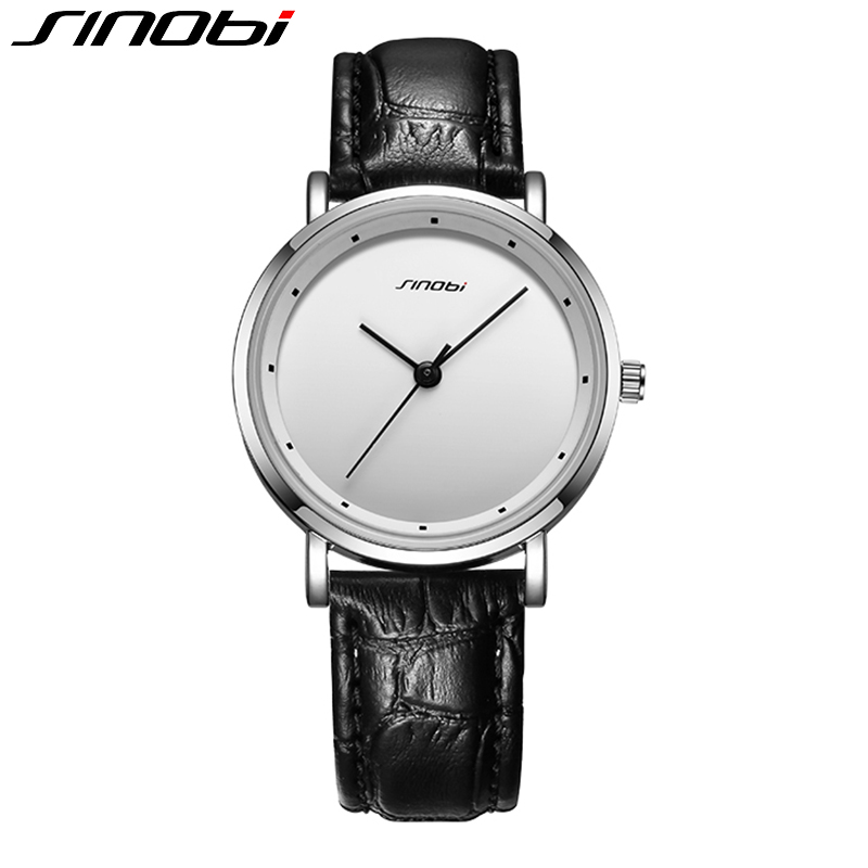 SINOBI 2017 New Watch Men Fashion Leather Strap Analog Quartz Wristwatch 30M Waterproof Male Leisure Business Clock Montre Homme sinobi 1850 men alloy analog quartz watch