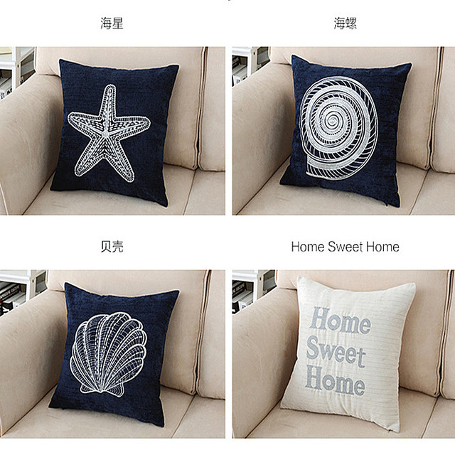 Embroidery Starfish Cushion Cover Shell Pillow Cover Simple Style Home  Decor Pillow Case Corduroy Pillow Sham