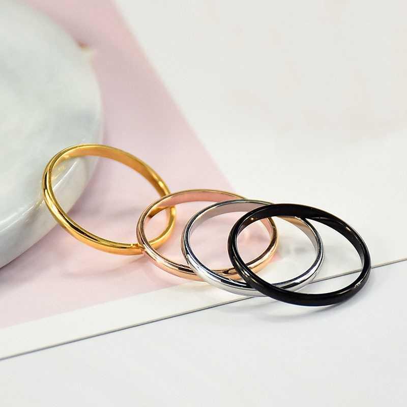 Basit 2 MM Ince Titanyum Çelik 4 Renk Çift Yüzük Basit Moda Gül Altın Gümüş Parmak Yüzük Kadınlar Için parti Takı