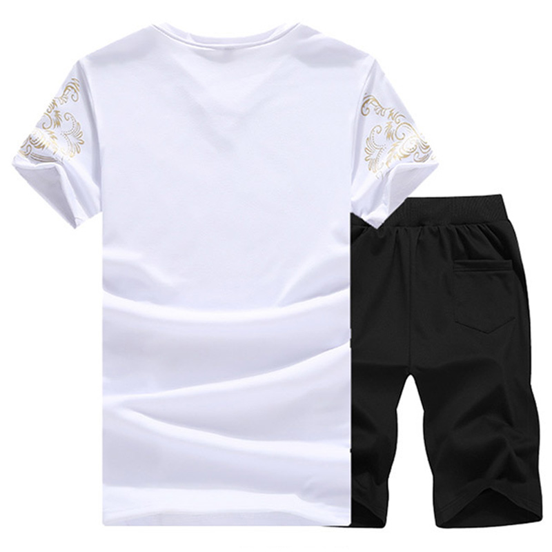 Tracksuit Men Casual Brand Tee Shirts 2019 Summer New Fashion Gyms Sportsuit Tee Shirt Set Mens T Shirt Shorts Short Pants Male in Men 39 s Sets from Men 39 s Clothing