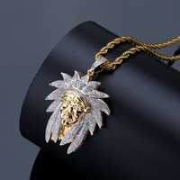 European and American personality retro Indian chief avatar pendant micro inlaid zircon two tone necklace