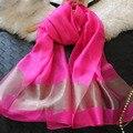 Nueva Seda Bufanda de Las Mujeres 12 Colores de Moda Bufandas de Seda de Oro de Costura Negro Sección Larga Del Mantón Suave Silenciador Moda