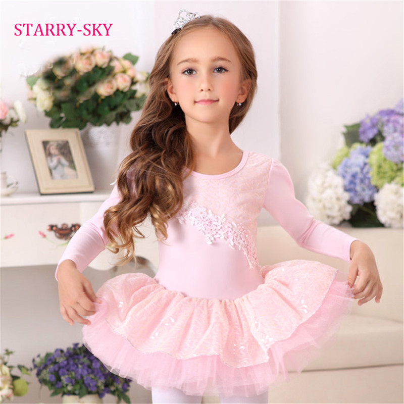 9911fefe3 Ballet Dress Kids Tutu Dancewear Girls Long Sleeve Dance Costume ...