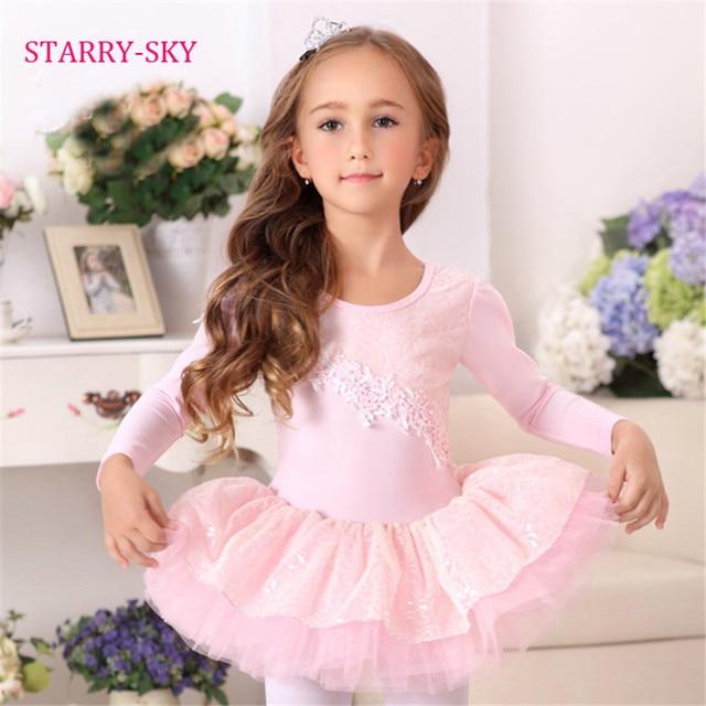 326b7d843b4f Ballet Dress Kids Tutu Dancewear Girls Long Sleeve Dance Costume ...