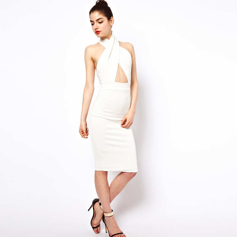 EDGLulu knitted <font><b>dress</b></font> white off shoulder midi elegant sexynew arrival 2019 spring summer runway bodycon <font><b>dress</b></font> image
