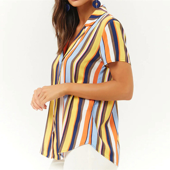 Striped Blouse Women Summer Short Sleeve Chiffon Blouse Turn Down Collar Lady Office Shirt Casual Loose Tops Tunic Plus Size Blouses
