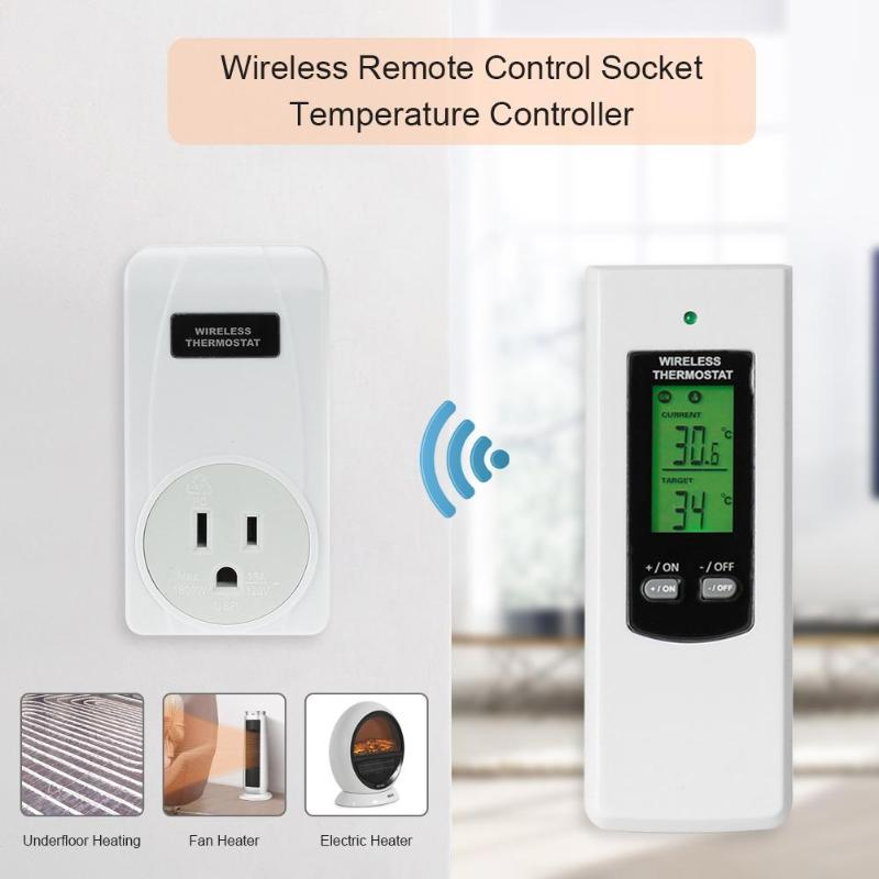 TS-808 Wireless Thermostat Temperature Controller Socket with Green Backlight Digital Thermostat Remote Control US/UK/EU Plug