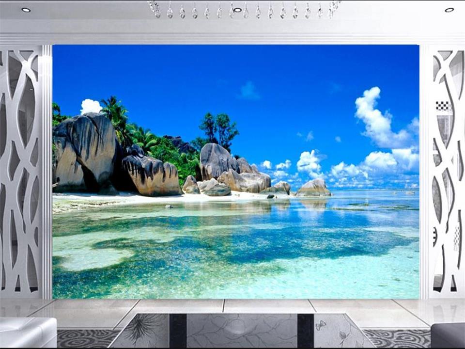 Custom 3 D Photo Wallpaper Wall Murals 3d Wallpaper Beach: Custom 3D Photo Wallpaper Mural Non-woven Living Room TV