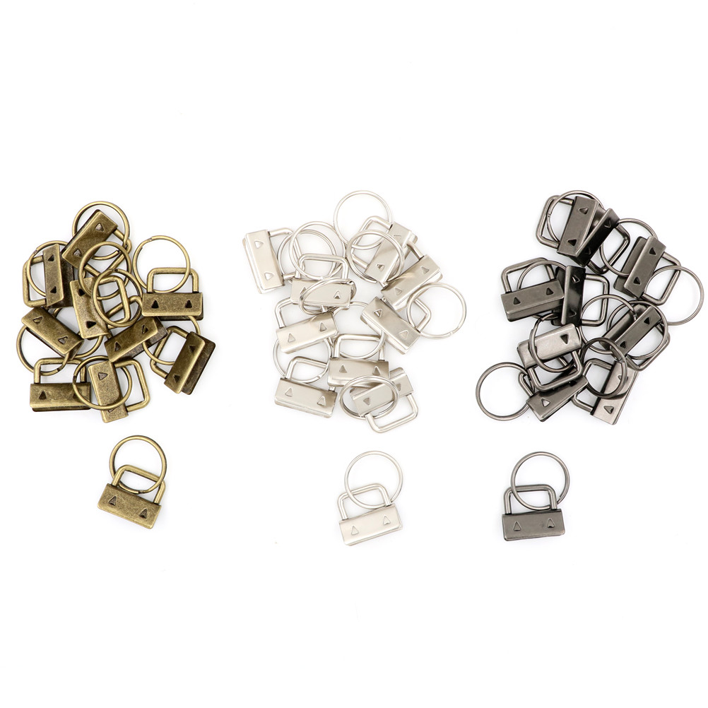 10Pcs/LOT Key Fob Hardware 25mm Keychain Split Ring For Wrist Wristlets Cotton Tail Clip 3Colors