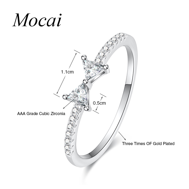 Silver Color Cute Bowknot Thin Ring For Women Micro Pave Zircon Small Ctystal Engagement Finger Pinky Rings Jewelry ZK30