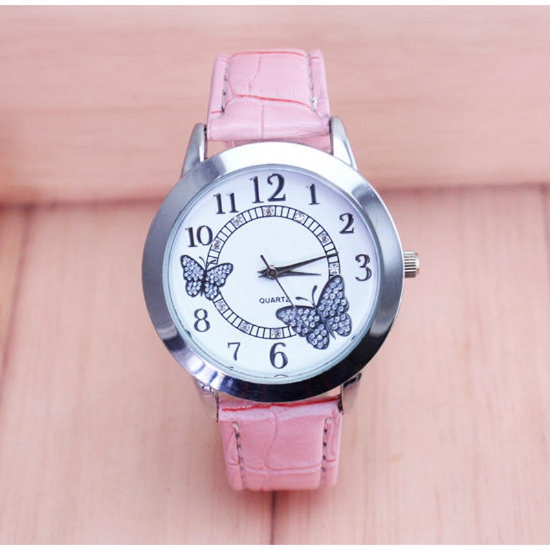 New Arrival Luxury Women Ladies Leather Kids Watches Quartz Reloj Fashion Butterfly Style Wristwatch Relogio Kol Saati