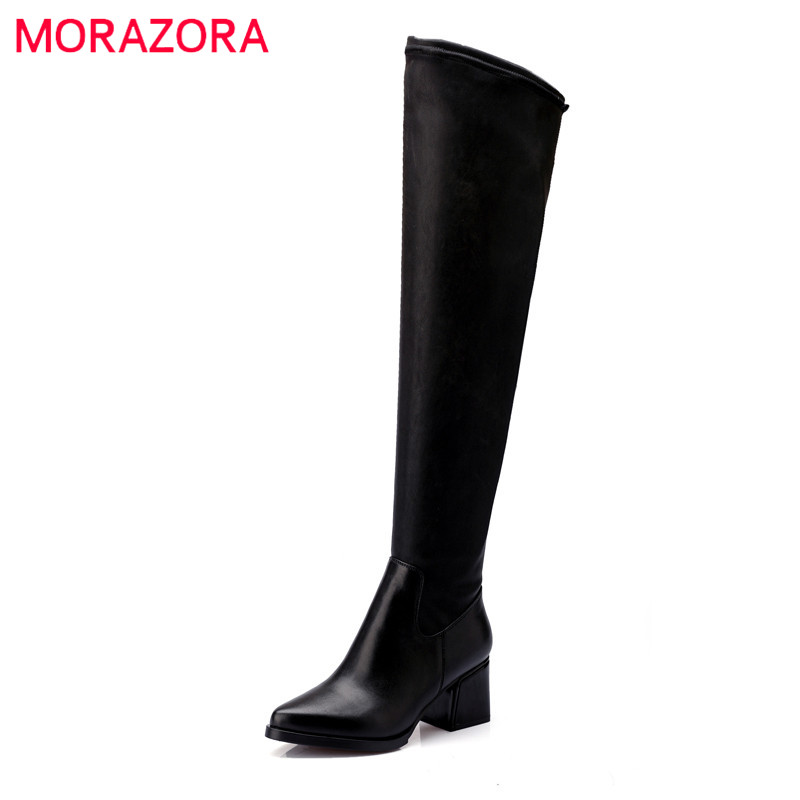 MORAZORA Big size 34-43 high heels shoes genuine leather boots + PU fashion shoes over the knee boots stretch women shoes memunia genuine leather boots woman over the knee boots for women high heels shoes fashion stretch long boots big size 34 43