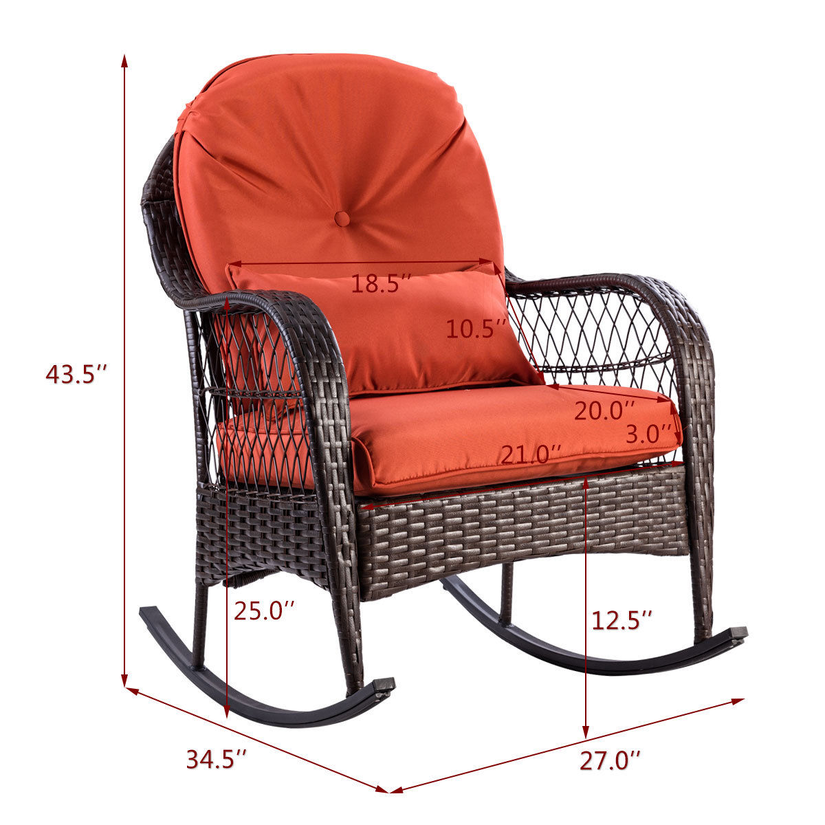 Giantex Patio Rattan Wicker Rocking Chair Modern Porch Deck Rocker Outdoor  Furniture With Padded Cushion HW57256 In Garden Chairs From Furniture On ...