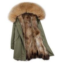 Брендовая зимняя куртка Для женщин 2018 длинные натуральным лисьим мехом пальто Обувь на теплом меху куртки натуральный мех енота меховой воротник с натуральным мехом внутри на парка