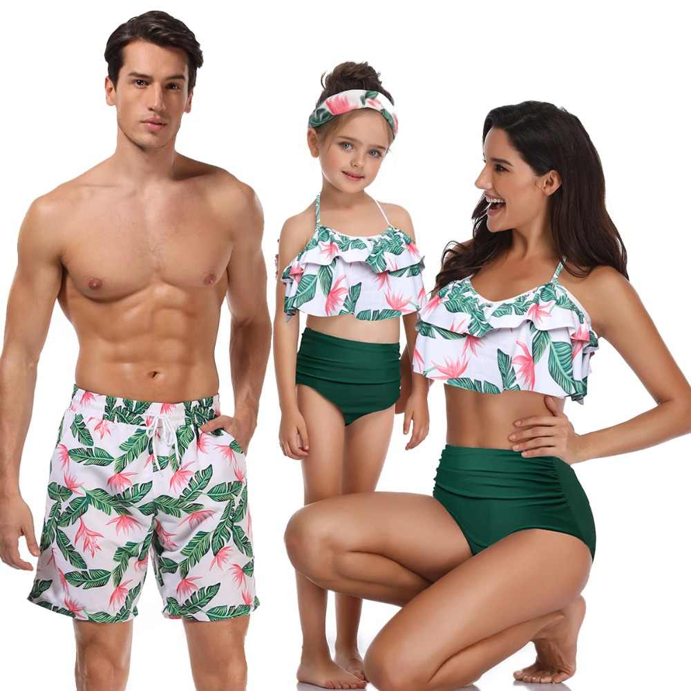 4b34b37602 beachwear family matching outfits look mother daughter swimsuits father son  swimwear bath shorts mommy dad and