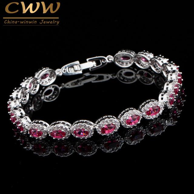 Moda Oval cut Limpar Suíço Rose Red CZ Pedra Luxo Mulheres Pulseiras Com Cubic Zirconia Imitado Diamante Pavimentada CB123