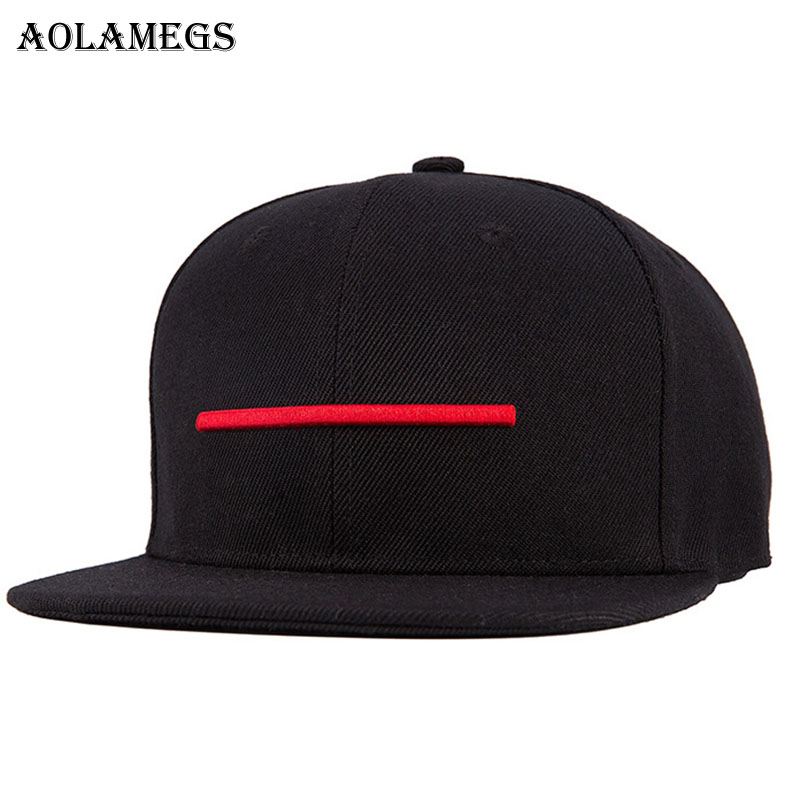 Aolamegs Hip Hop Cap Red Line Embroidery Flat Caps Snapback Cotton Fashion Casual High Street Summer High Quality Streetwear