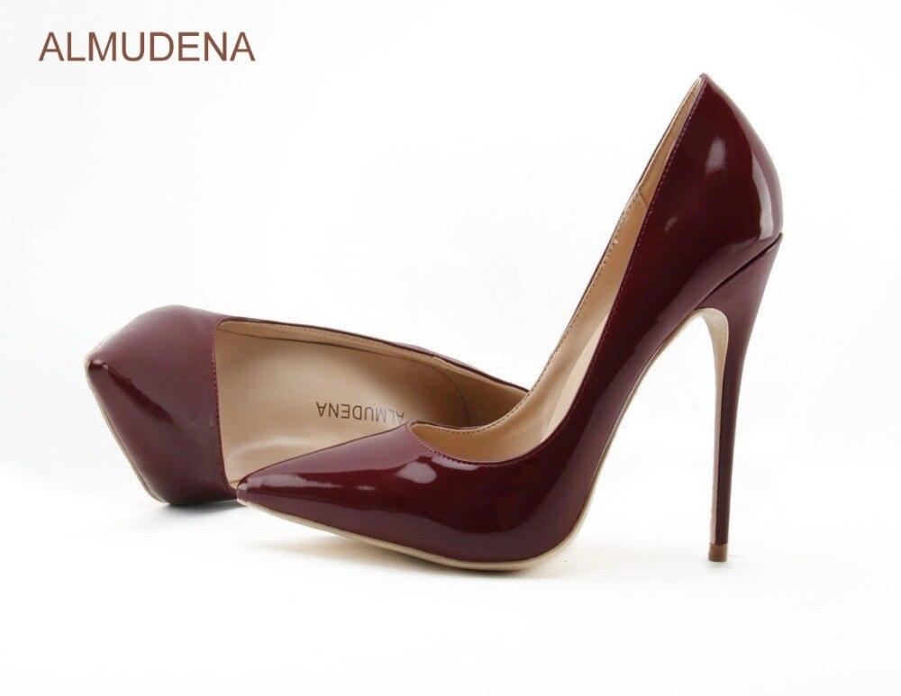 ALMUDENA européenne Sexy bordeaux miroir chaussures en cuir mince talon haut vin rouge bout pointu pompes Chic chaussures de mariage Drophip - 6