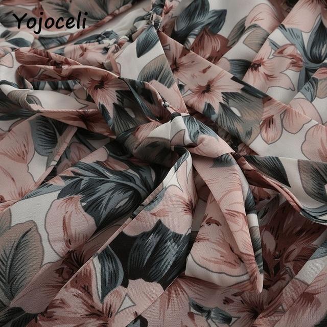 Yojoceli 2018 summer off shoulder floral print jumpsuit romper women flare sleeve bow beach playsuits 5
