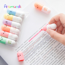 Arsmundi 6 Pcs/lot Capsules Highlighter Vitamin Pill Highlight Marker Color Pens Stationery Office School Mildliner Supplies
