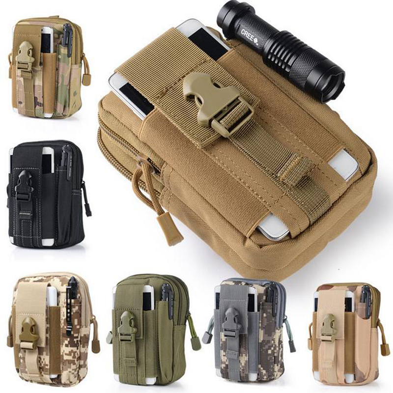 Universal Outdoor Tactical Holster Military Molle Hip Waist Belt Bag Wallet Pouch Purse Phone Case with Zipper for iPhone 7 / LG