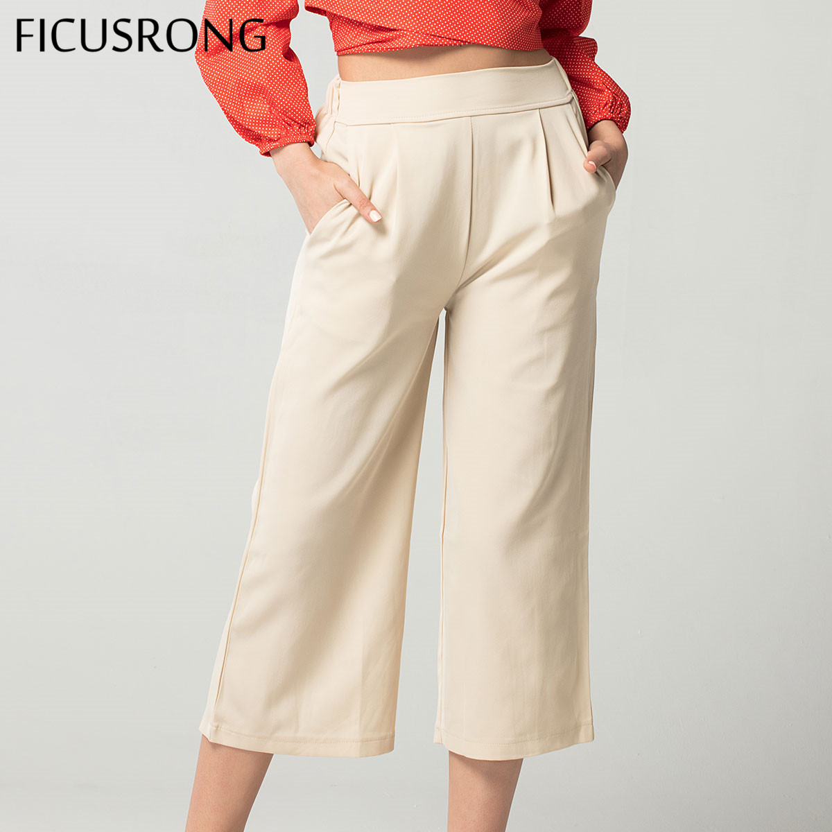 FICUSRONG Fashionable Female Summer Chiffon   Wide     Leg     Pants   Women's High Waist Large   Pant   M-6XL Plus Size Ankle-Length Capris
