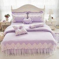WINLIFE Purple Princess Girls Bedding Sets Lace Ruffled Duvet Cover Set