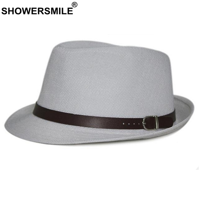 SHOWERSMILE Linen Fedora Hat Men White Vintage Jazz Hat British Style Women  Retro Solid Autumn Panama Hats With Belt New Fashion 90f3f0dbb62