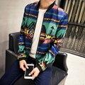 Nuevo 2016 otoño del estilo chino de la vendimia patrón de impresión chaqueta de bombardero de los hombres jaqueta masculina ropa de los hombres más tamaño tamaño m-5xl JK34