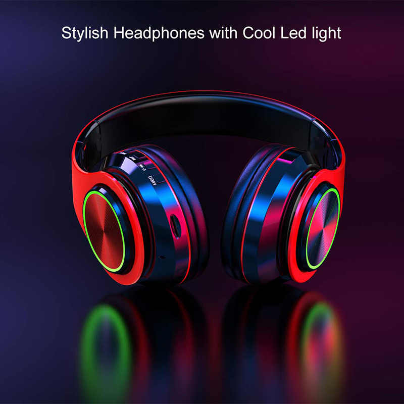 5 0 Bluetooth Headphones With Mic Led Breathing Light Foldable Hi Fi Deep Bass Wireless Over Ear Retractable Support Tf Card Aliexpress