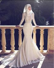 Arabic Style New Arrival Charming Long Sleeves Lace Applique O Neck Hijab Mermaid Long Evening Dresses