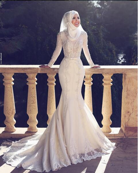 Arabic Style New Arrival Charming Long Sleeves Lace Applique O Neck font b Hijab b font