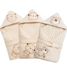 Hooded Organic cotton Swaddle Wrap Blanket Sleeping Bag For Newborn Baby Shower GIFT 100 Cotton 0