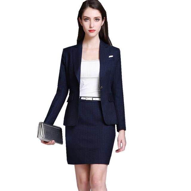 6d62261c6e Fmasuth Primavera Listra Azul Terno de Saia Para As Mulheres 3 peças  Conjunto Formal Blazer +