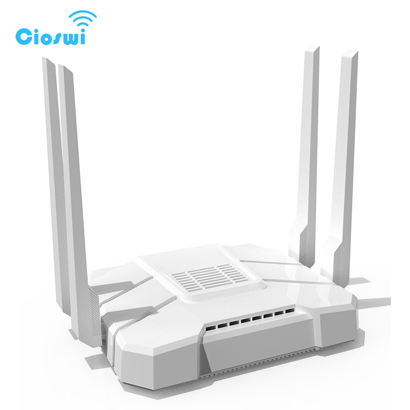 3G 4G lte router openWRT mt7621 dual core chipset with 4 external omni antennas 2.4G/5GHz dual band Office wireless wifi router-in Wireless Routers from Computer & Office