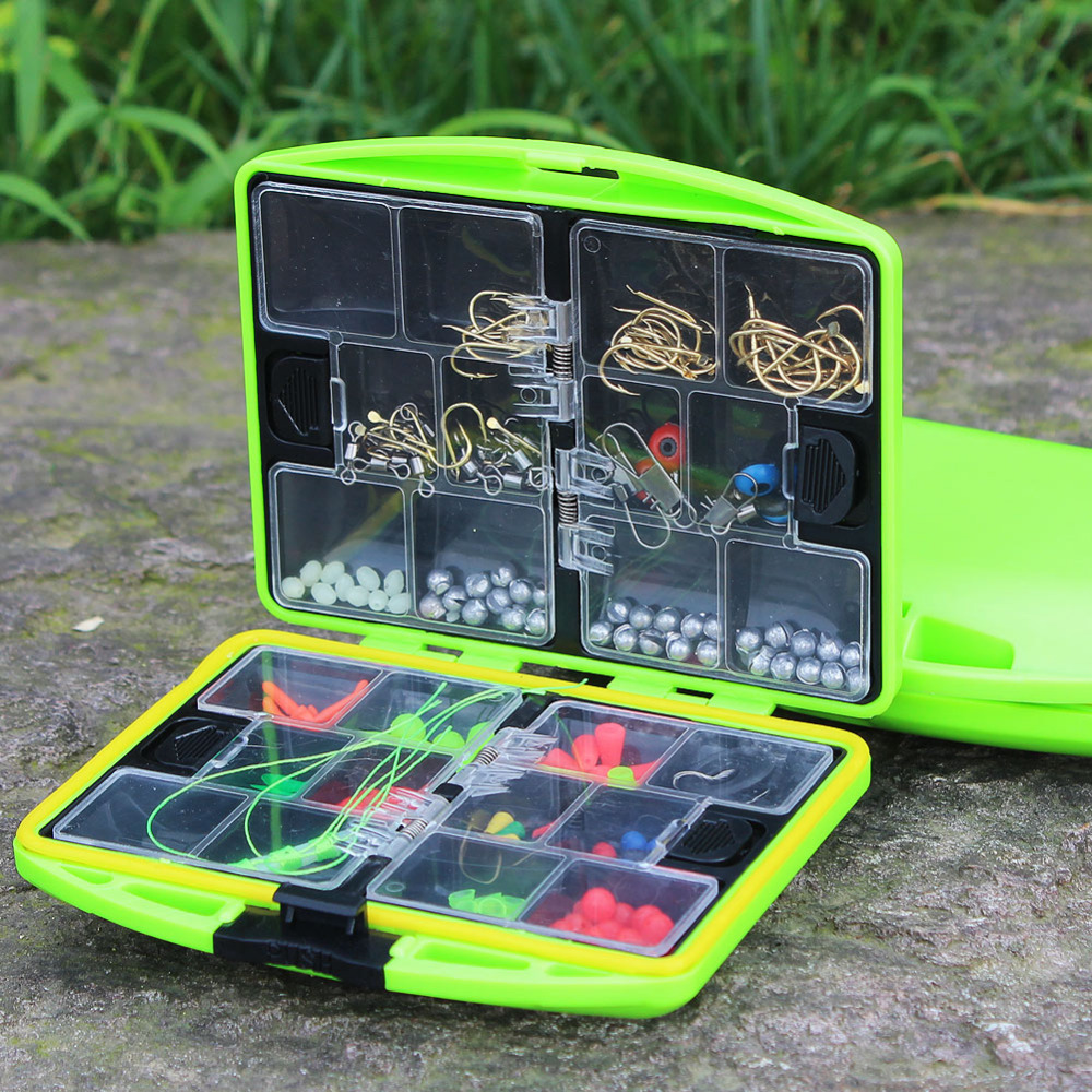 24 Compartments Fishing Tackle Box Full Loaded Hook Spoon Water Resistant Swivels Fishing Accessories Sinker Fishing