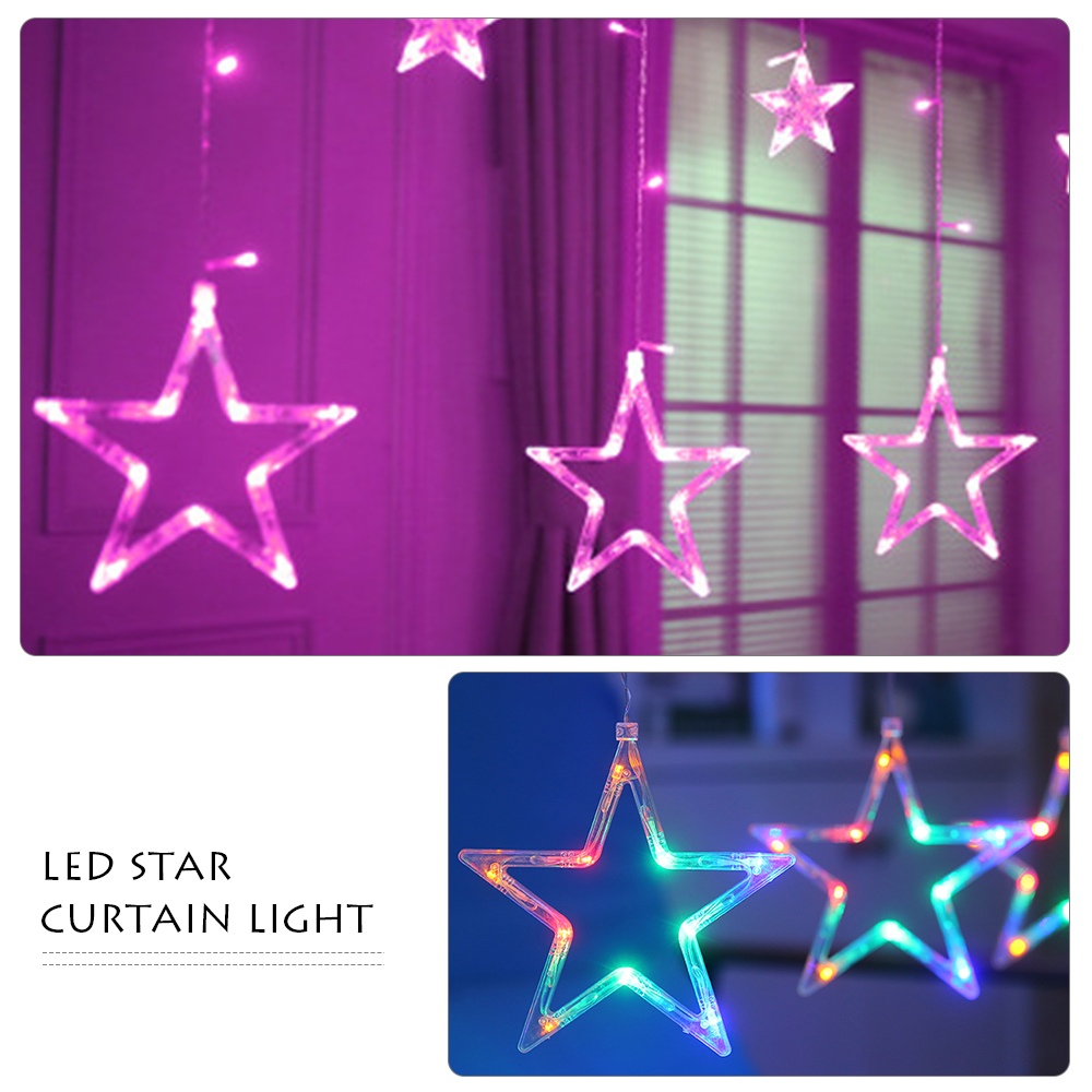 100% Quality 3m Rgb Led Curtain Lights 8 Modes 8 Colors Pentagram Star String Fairy Lights Wedding Party Holiday Lighting 220v With Tail Plug