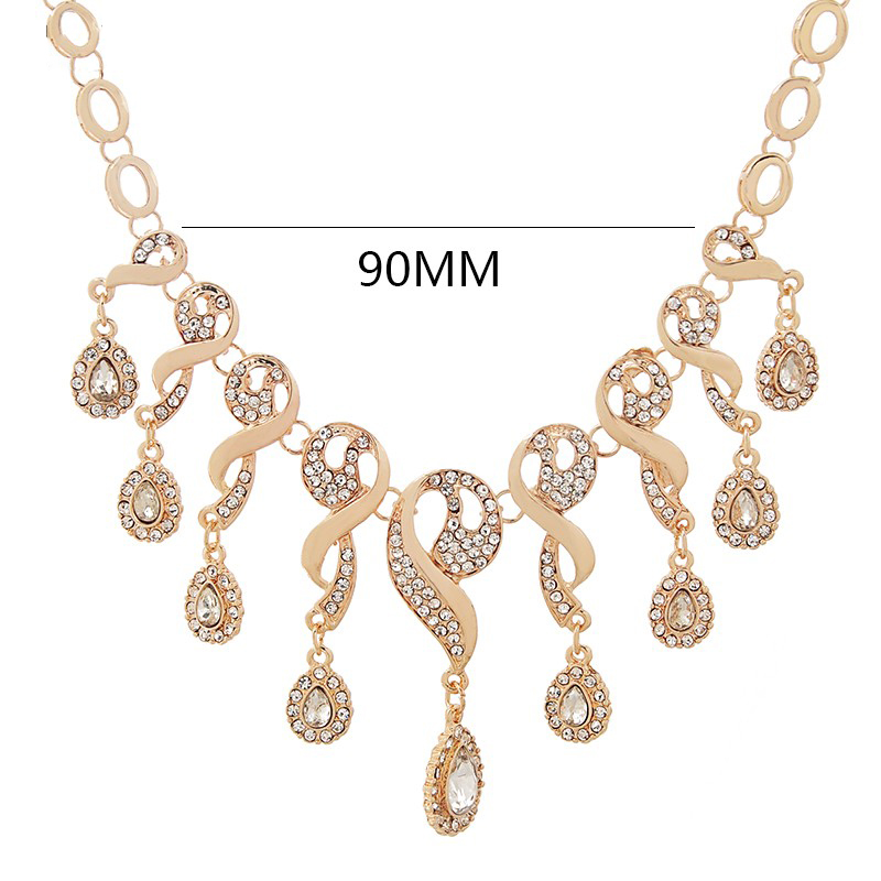 Elegant CZ Crystal Tassel African Beads Jewelry Sets for Women Gold Color Wedding Necklace Earrings Bracelet Ring Jewellery