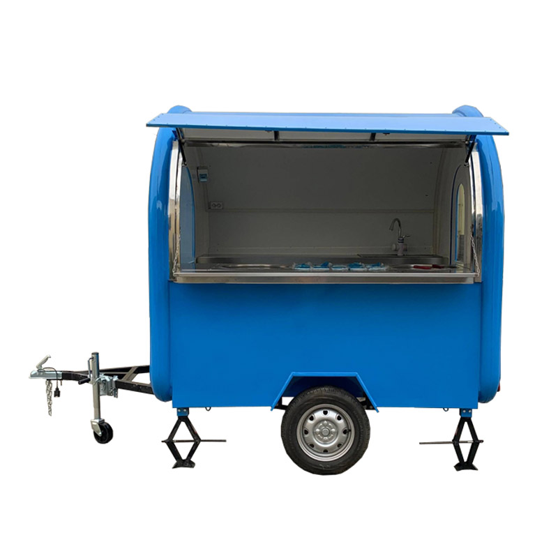 Free Shipping KN-220W Sky Blue Mobile Food Carts/trailer/ Ice Cream Truck/snack With Ice Cream Roller Machine Customized