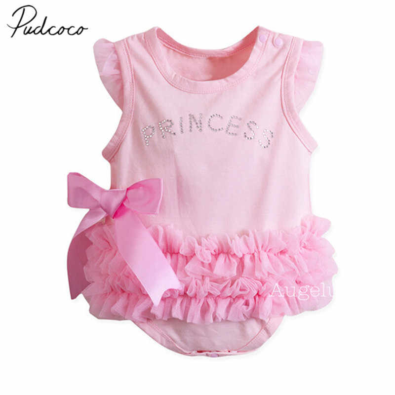 2018 Brand New Newborn Infant Baby Girl Summer 0-24M Princess Romper Sleeveless Letter Print Lace Bow Pink Jumpsuits Romper