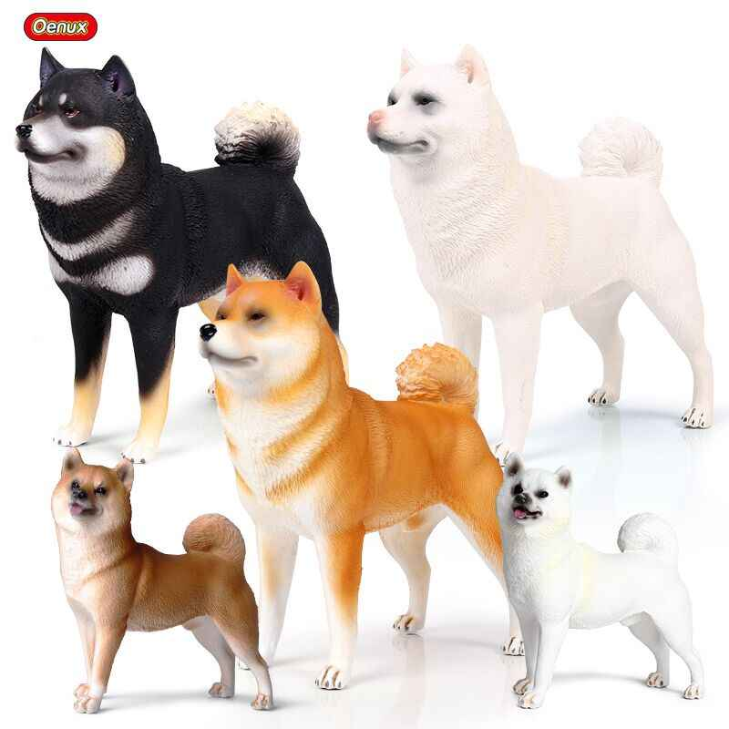 Oenux 5PCS Classic Lovely Japan Shiba Inu Animal Model Kawaii Big Pet Dog Action Figures PVC Cute Collection Toy For Kids Gift