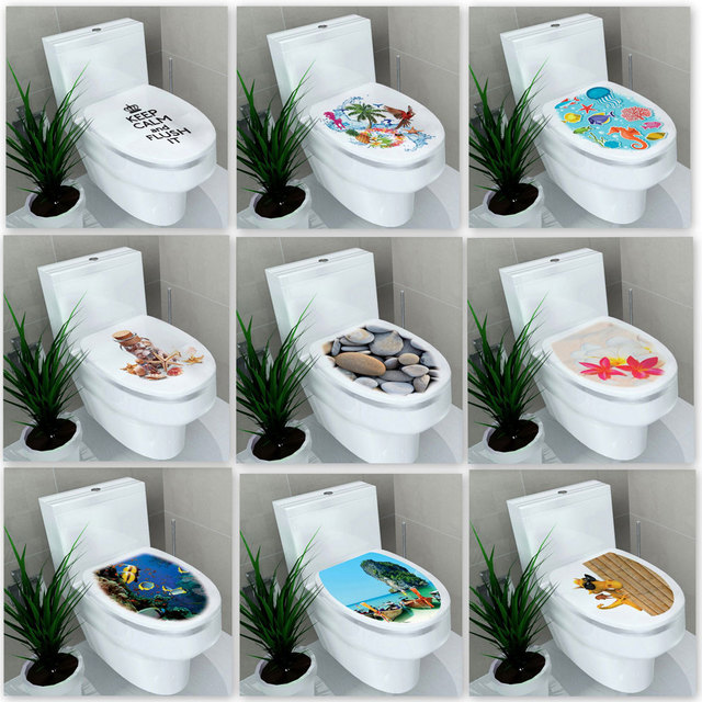 On The Toilet Waterproof Painting Decal-Free Shipping Bathroom Stickers