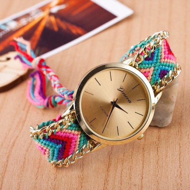 New Handmade Braided Friendship Bracelet Watch women GENEVA Hand-Woven Thread Ladies Quartz-Watch montre femme relojes mujer