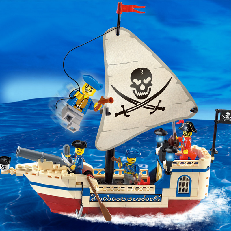 188Pcs NEW Enlighten Pirates Of The Caribbean Brick Bounty Pirate Ship Building Blocks DIY Christmas Gifts for kids toys new lepin 16009 1151pcs queen anne s revenge pirates of the caribbean building blocks set compatible legoed with 4195 children