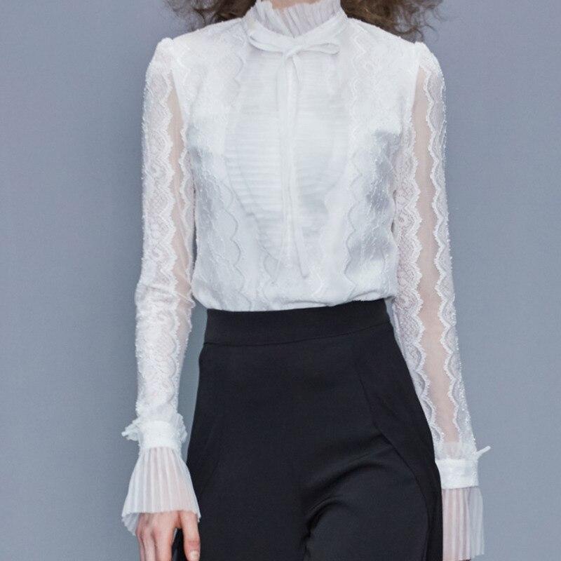 Européenne 2019 été automne nouvelles modes femmes hauts et Blouse manches longues Sexy dentelle couleur unie col montant chemise blanche A288 - 2