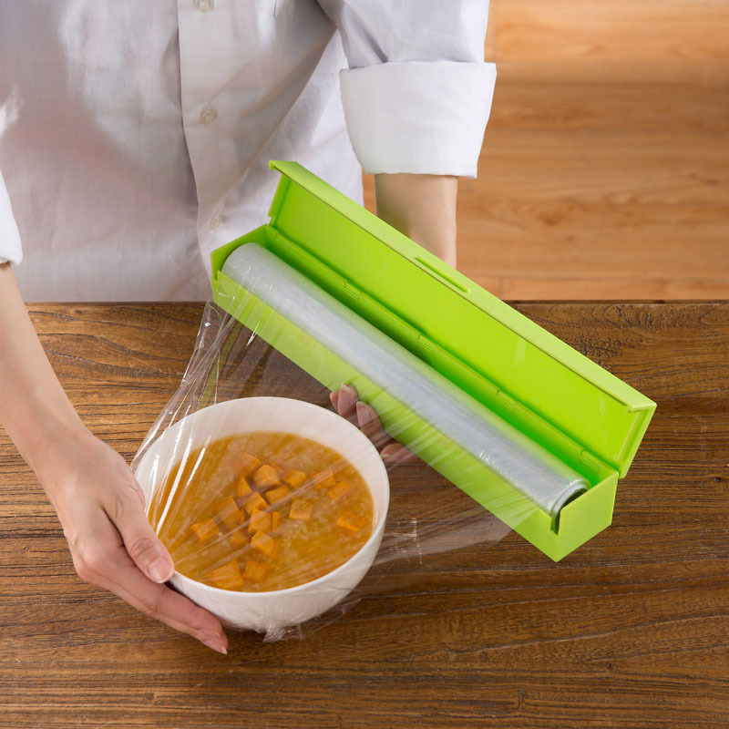 Plastic Wrap Dispenser Saran Wrap Cutter Poly Bags Cling Film Food Storage  Containers Kitchen Accessories Supplies Products In Saran Wrap U0026 Plastic  Bags ...