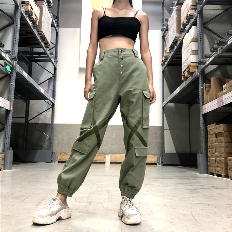 Elastic High Wasit Cargo Pants 2018 Women Loose Long Green Cotton Pants Pockets Patchwork Military Button Splice Pantalon Femme